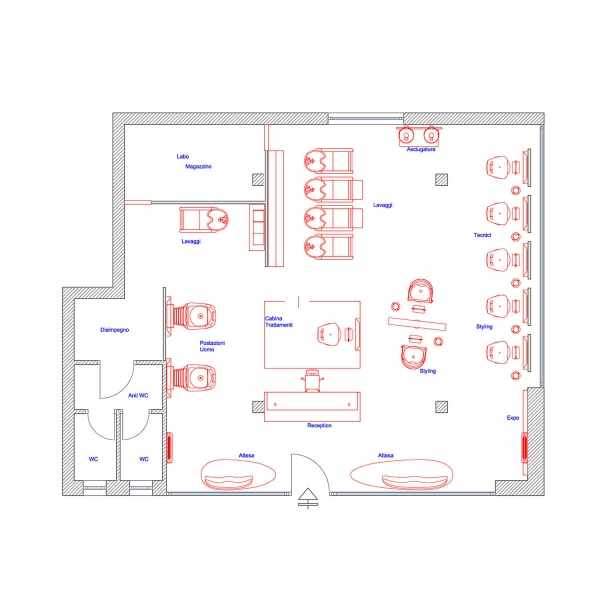 2D Salon Floor Plan - Salon Floor Plans