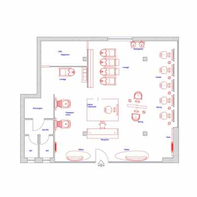 2D Salon Floor Plan -